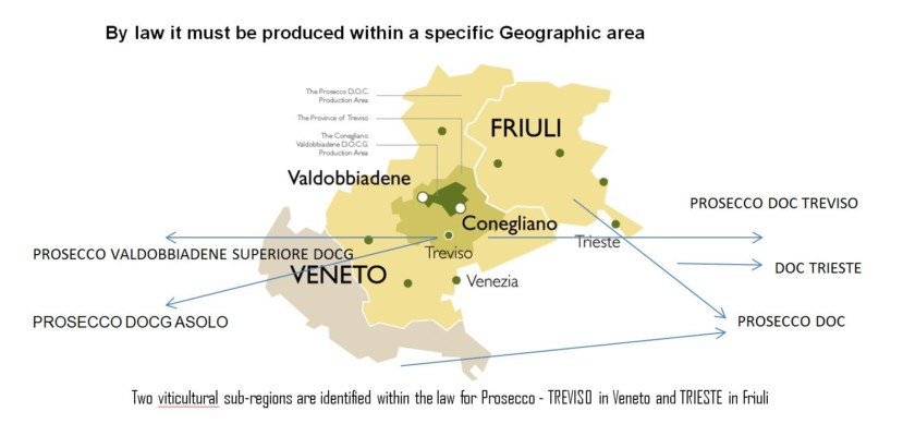 DOC and DOCG Prosecco Map