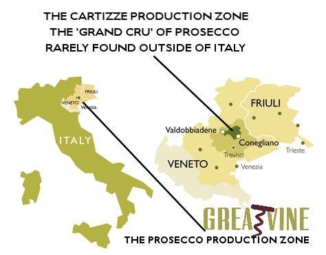 Cartizze Prosecco Production Zone Map